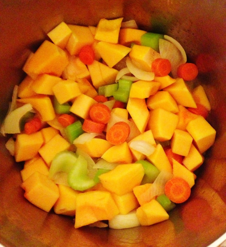 use a big dutch oven to soften the veggies.