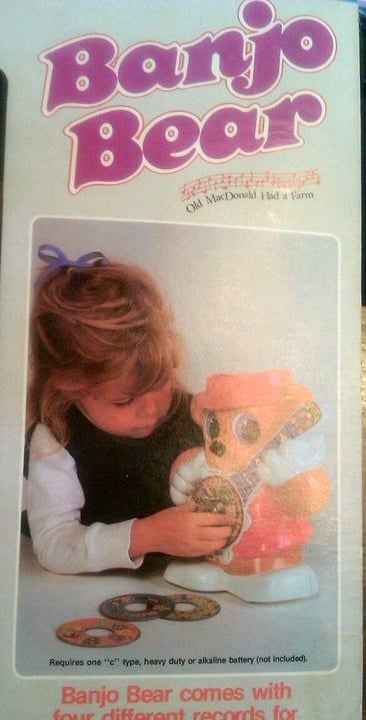Me on the Banjo Bear toy box, my first major modeling gig, age 3.