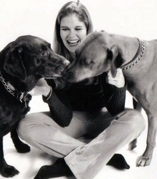 Sadie, my Ridgeback, with her companion Java, chocolate lab, in 2000.