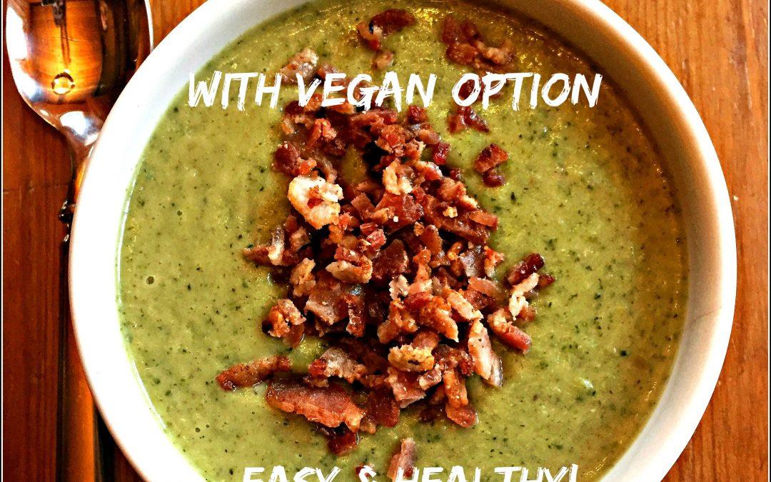 Paleo Broccoli Soup (with Vegan/Vegetarian Option)