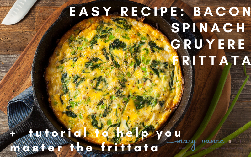 Keto Spinach Bacon Gruyere Frittata + Tutorial
